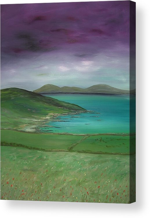 Purple Acrylic Print featuring the painting Purple Sky Over Donegal by Maurice Noble