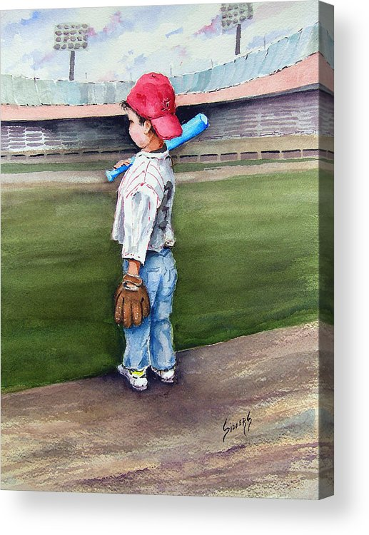 Baseball Acrylic Print featuring the painting Put Me In Coach by Sam Sidders
