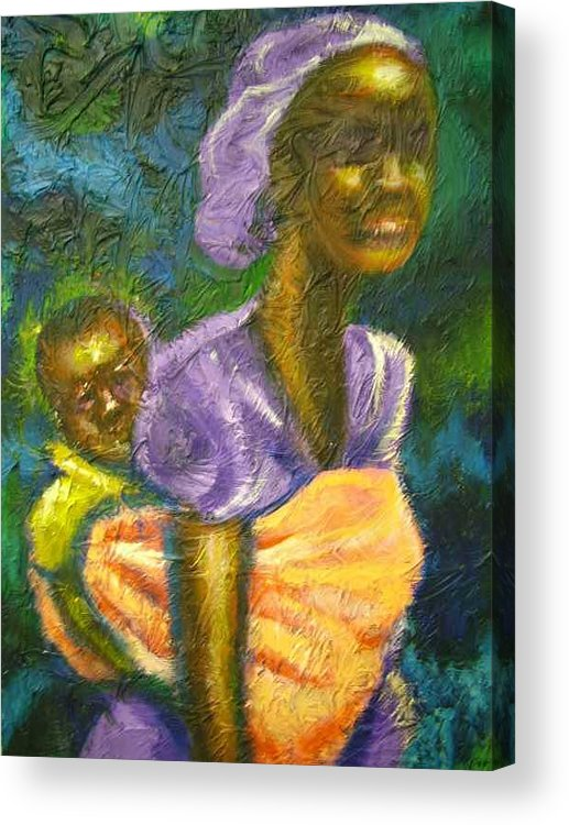 Mother And Child Acrylic Print featuring the painting Safe And Secure by Jan Gilmore