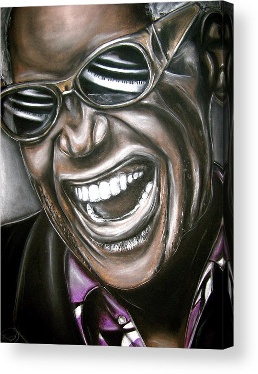 Ray Acrylic Print featuring the drawing Ray Charles by Zach Zwagil