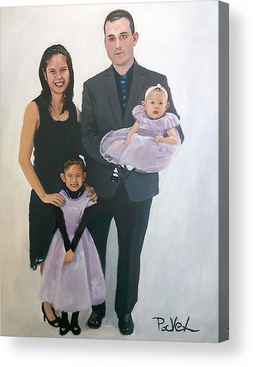 Family Portrait Acrylic Print featuring the painting Razi And Her Family by Pavel Kish