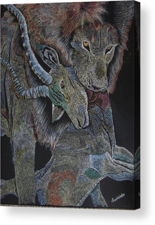 Animal Acrylic Print featuring the painting Reality Bites by Glory Fraulein Wolfe