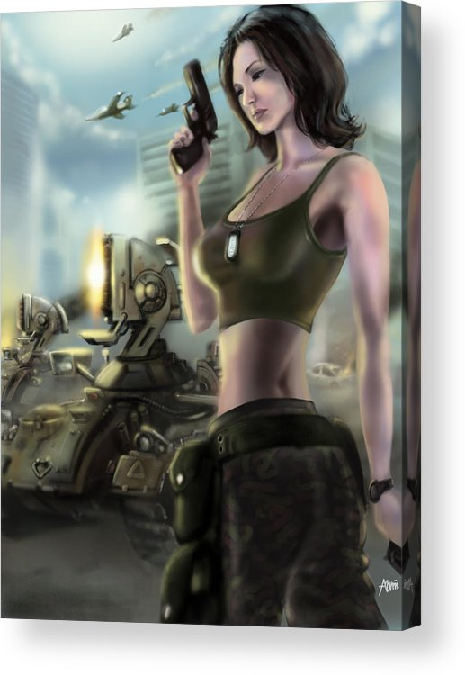 Tanya Acrylic Print featuring the digital art Red Alert 2 Tanya by Alvin Goh