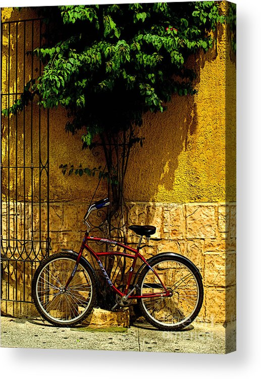 Tlaquepaque Acrylic Print featuring the photograph Red Bicycle by Mexicolors Art Photography