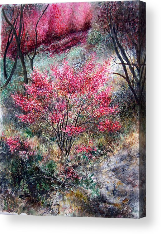 Landscape Acrylic Print featuring the painting Red Bush by Valerie Meotti