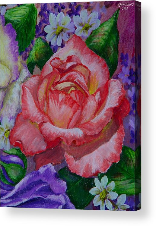 Rose Acrylic Print featuring the painting Red Rose by Quwatha Valentine