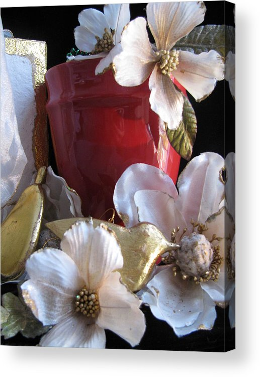 Gold Acrylic Print featuring the photograph Red Vase by Lindie Racz