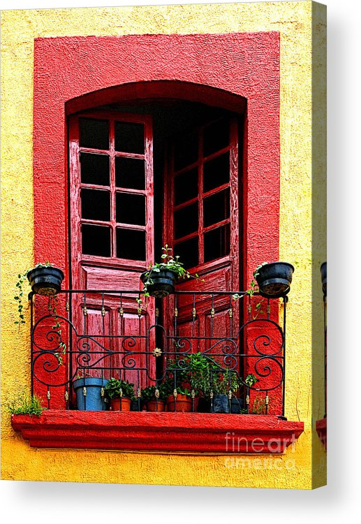 Tlaquepaque Acrylic Print featuring the photograph Red Window by Mexicolors Art Photography