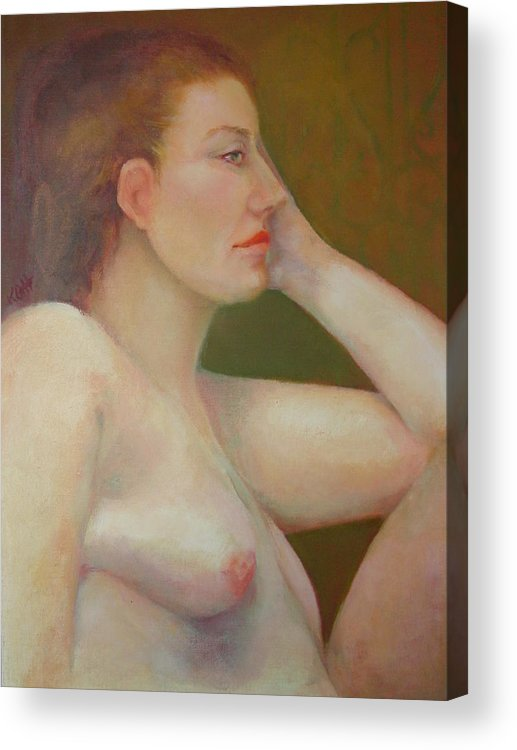 Portrait Acrylic Print featuring the painting Renaissance Nude Copyrighted by Kathleen Hoekstra