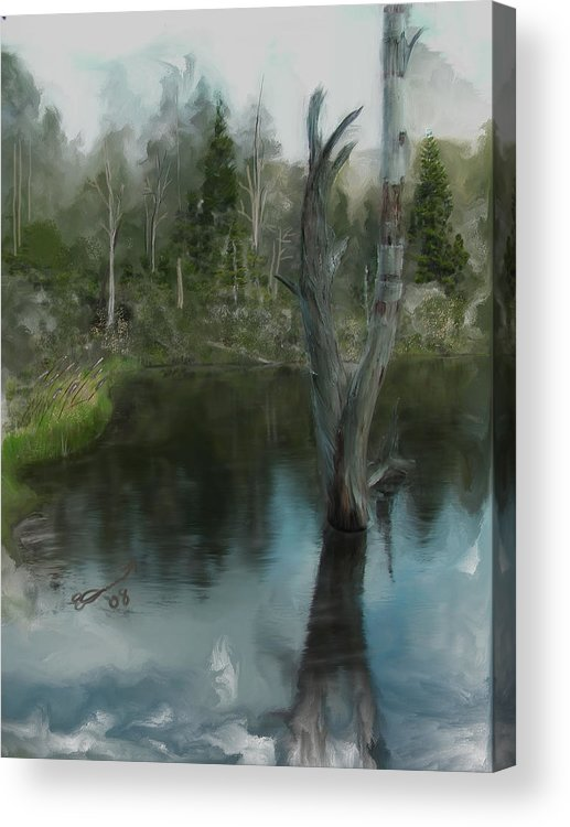 Lake Water White Life Summer Painting Zealand Tree Mountain Pond Death Deadwood Acrylic Print featuring the painting Renewal... by Eddie Durrett