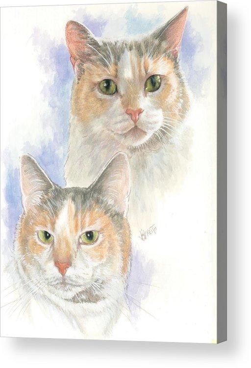 Domestic Cat Acrylic Print featuring the mixed media Reno by Barbara Keith