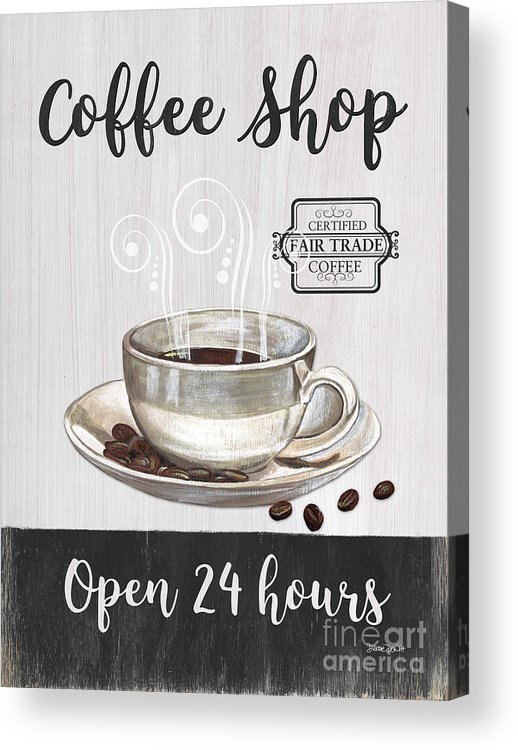 Coffee Acrylic Print featuring the painting Retro Coffee Shop 1 by Debbie DeWitt
