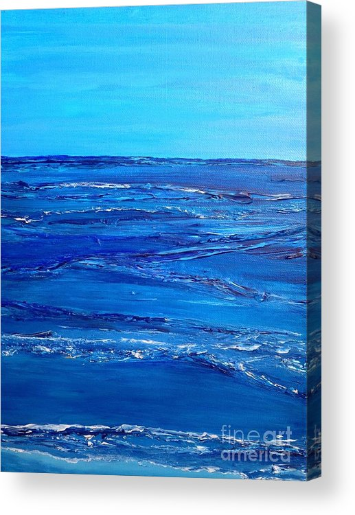 Waves Acrylic Print featuring the painting Rolling Blue, Triptych 3 Of 3 by Kathleen Arco