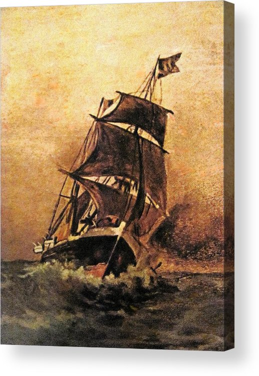 Ship Acrylic Print featuring the painting Rs03 by Roberto Simeroni