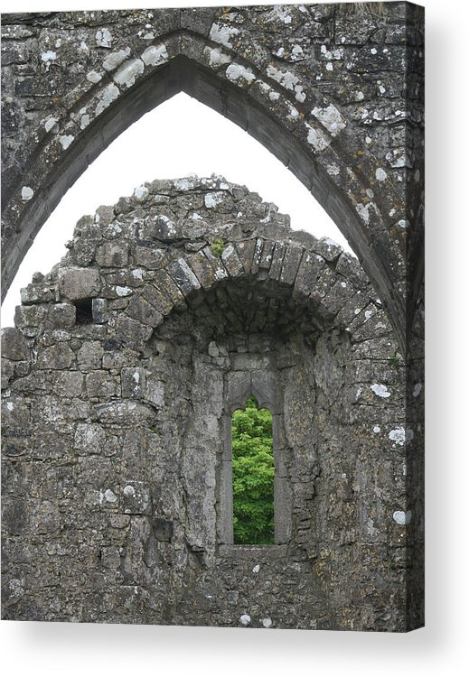 Ireland Acrylic Print featuring the photograph Ruins Of A 9th Century Monastery In Ireland by Beverlee Singer