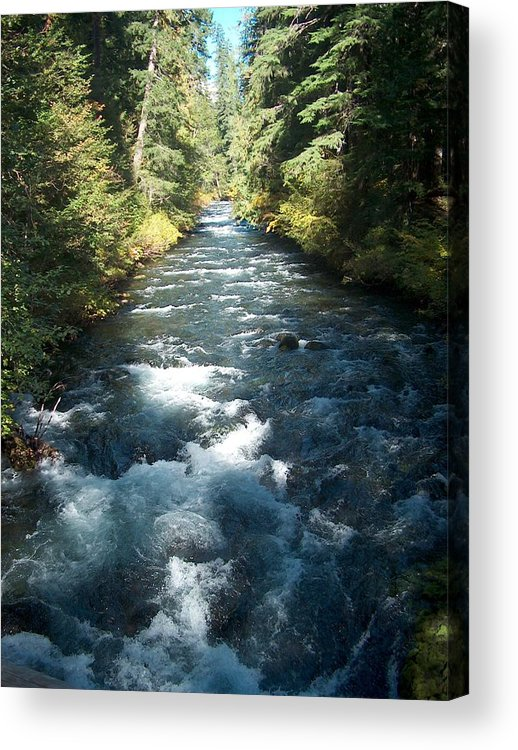 Water Stream Creek Mckenzie River Bend Oregon Acrylic Print featuring the photograph Rushing Waters by Janet Hall