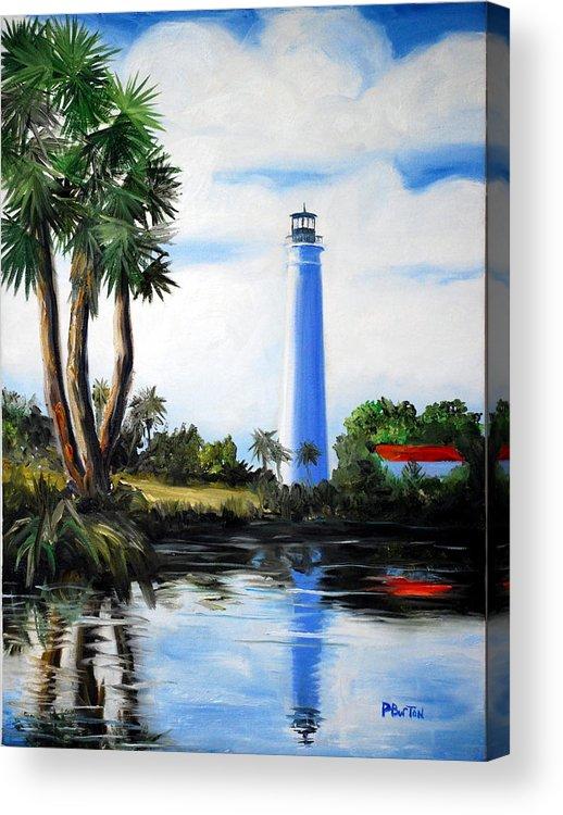 Light House Florida Saint Marks River Ocean Sea Palms Seacapes Acrylic Print featuring the painting Saint Marks River Light House by Phil Burton