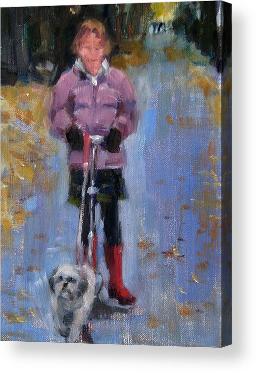 Child Acrylic Print featuring the painting Scooting Down The Street by Merle Keller