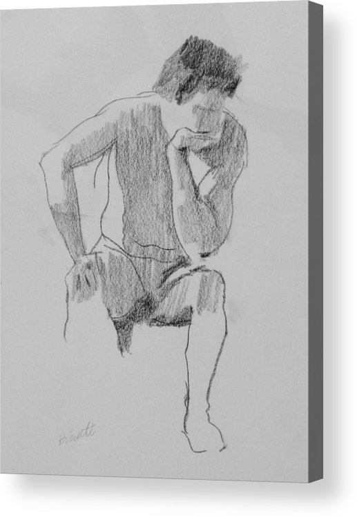 Life Acrylic Print featuring the drawing Seated Nude 3 by Robert Bissett