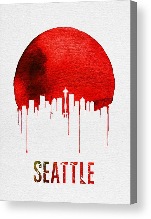 Seattle Acrylic Print featuring the painting Seattle Skyline Red by Naxart Studio