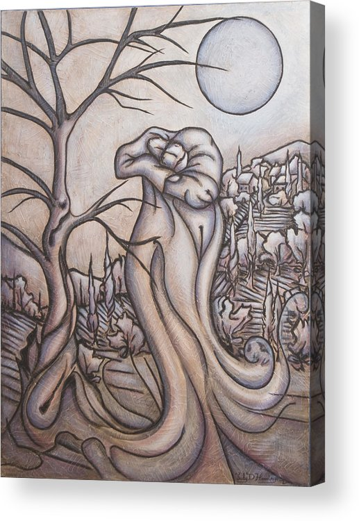 Dream. Moon Acrylic Print featuring the painting Secrets And Dreams by Judy Henninger