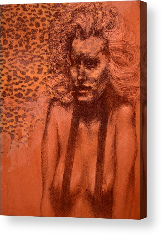 Woman Acrylic Print featuring the drawing Self Portrait by J Oriel