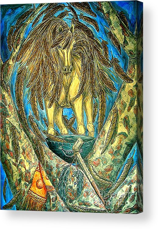 Animals Acrylic Print featuring the painting Shaman Spirit by Kim Jones