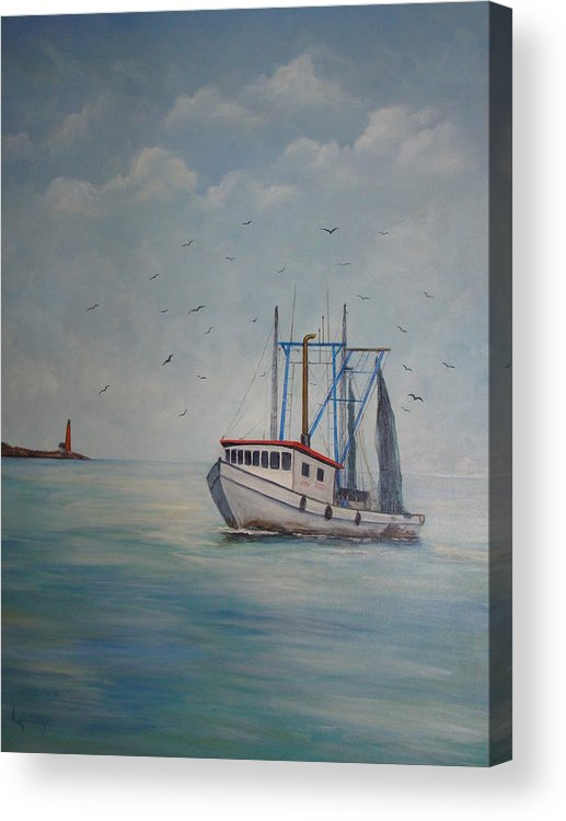 Shrimp Boat Acrylic Print featuring the painting Shrimp Boat by Carolyn Speer