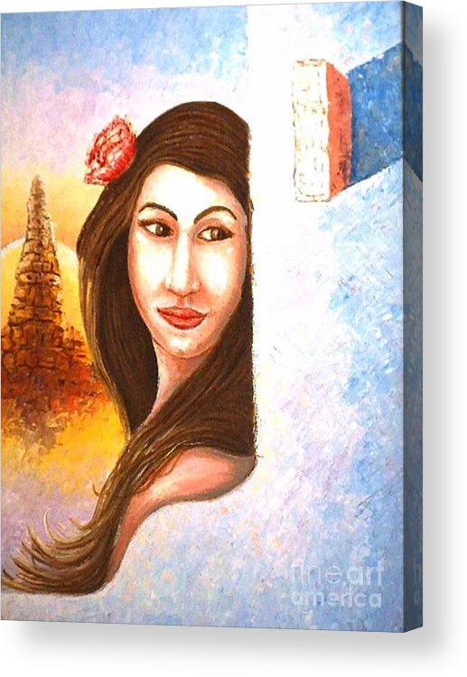 Portrait Acrylic Print featuring the painting Shy Thoughts by Santiago Chavez