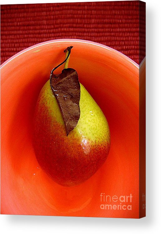 Nature Acrylic Print featuring the photograph Single Pear In A Bowl by Lucyna A M Green