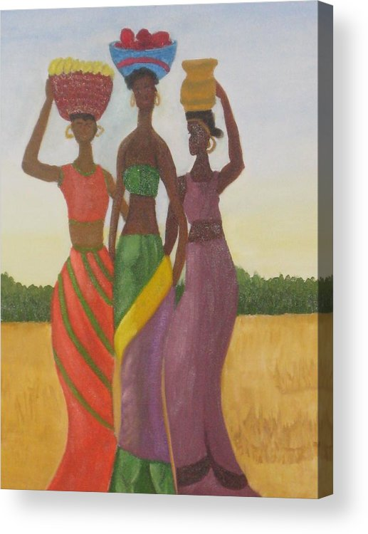 Women Acrylic Print featuring the painting Sisters by AVK Arts