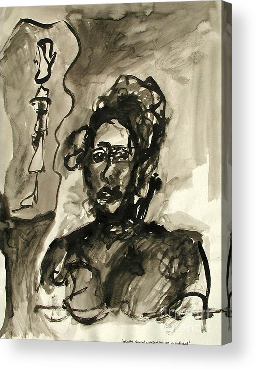Ink Acrylic Print featuring the painting Slightly Obsessed With Someone On A Pedestal by Sarah Goodbread