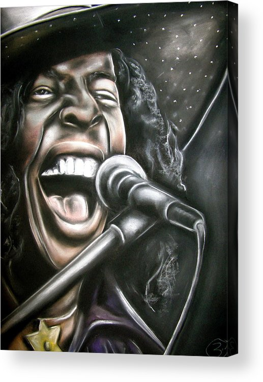 Sly Stone Acrylic Print featuring the drawing Sly Stone by Zach Zwagil