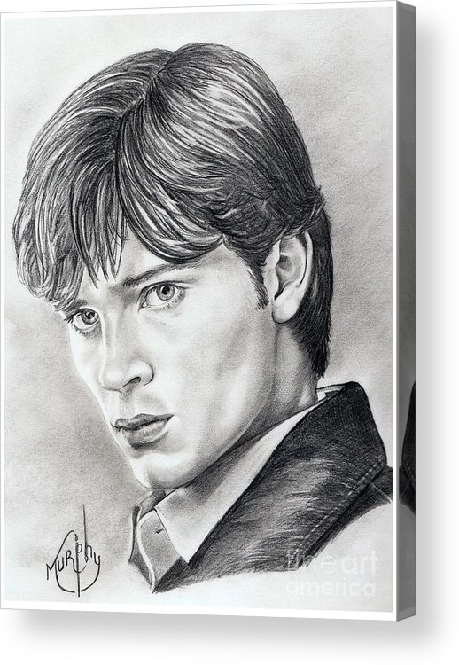 Superman Acrylic Print featuring the drawing Smallville Tom Welling by Murphy Elliott