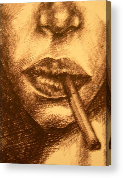 Smoking Acrylic Print featuring the drawing Smoke Break by J Oriel