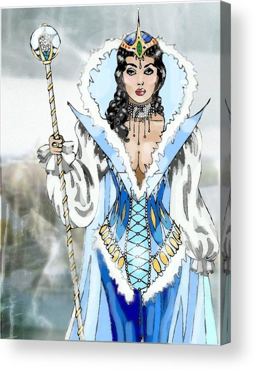 Queen Acrylic Print featuring the digital art Snow Queen by Scarlett Royal