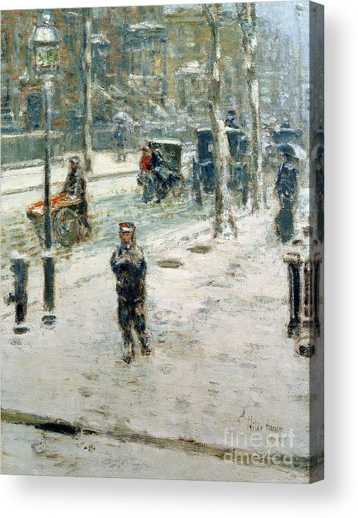 Snow Storm Acrylic Print featuring the painting Snow Storm On Fifth Avenue by Childe Hassam