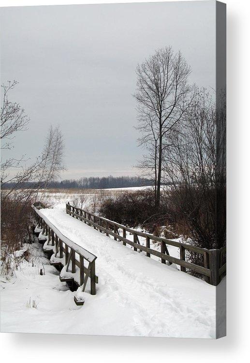 Snow Acrylic Print featuring the photograph Snowy Bridge by Andrew Kazmierski