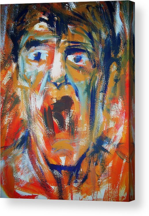 Portrait Acrylic Print featuring the painting Soundless Scream by Umit Ozkanli