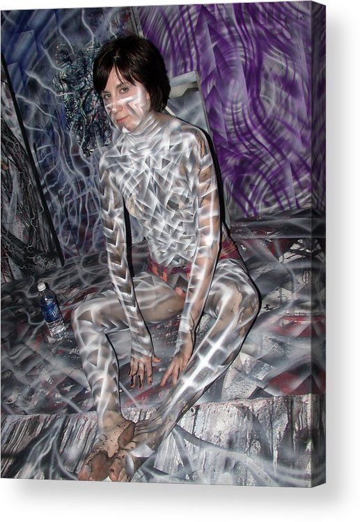 Body Paint Acrylic Print featuring the painting Spiral 3 by Leigh Odom