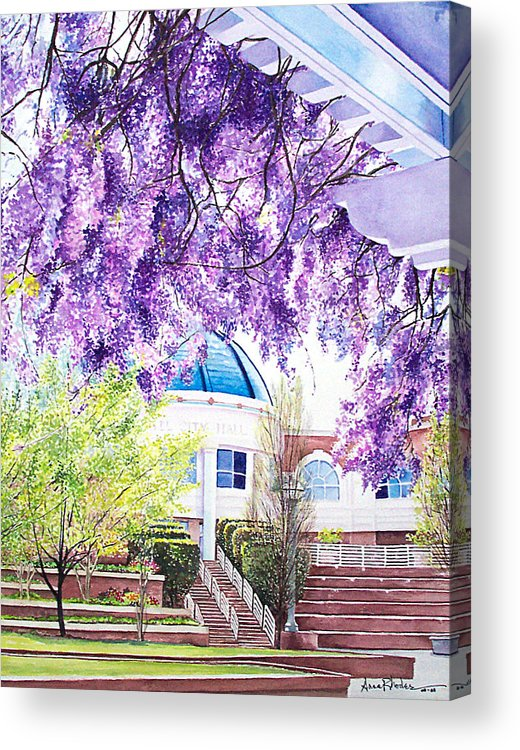 Wisteria Acrylic Print featuring the painting Spring At City Hall by Anne Rhodes