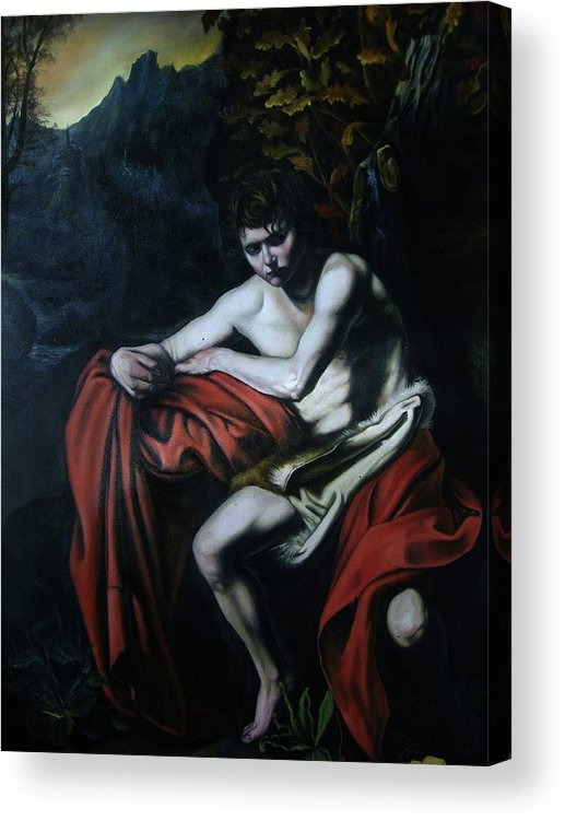Realism Acrylic Print featuring the painting St John The Baptist Reproduction by Flamur Miftari