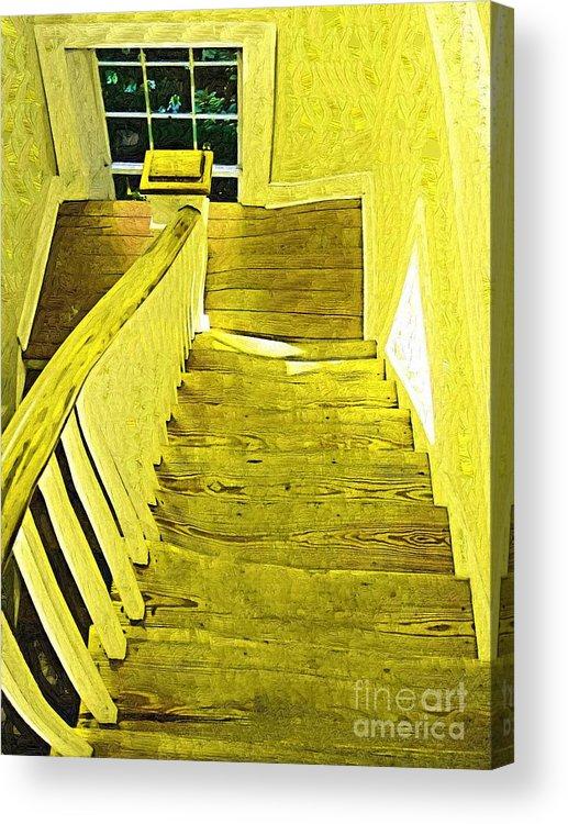 Stairs Acrylic Print featuring the painting Stairway To No Where by Deborah Selib-Haig DMacq