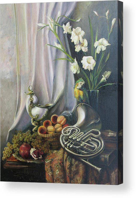 Armenian Acrylic Print featuring the painting Still-life With The French Horn by Tigran Ghulyan
