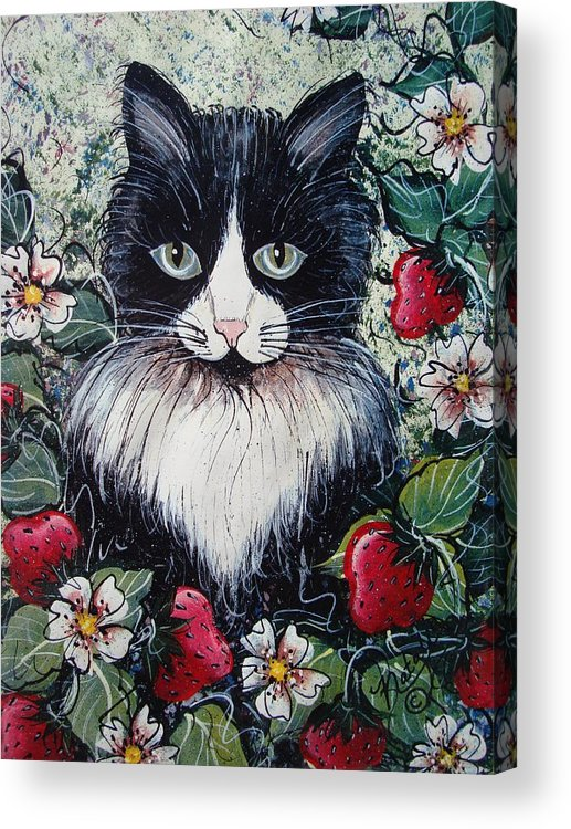 Cat Acrylic Print featuring the painting Strawberry Lover Cat by Natalie Holland