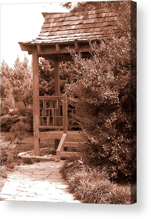 Sepia Acrylic Print featuring the photograph Stroll Garden 2 by Audrey Venute