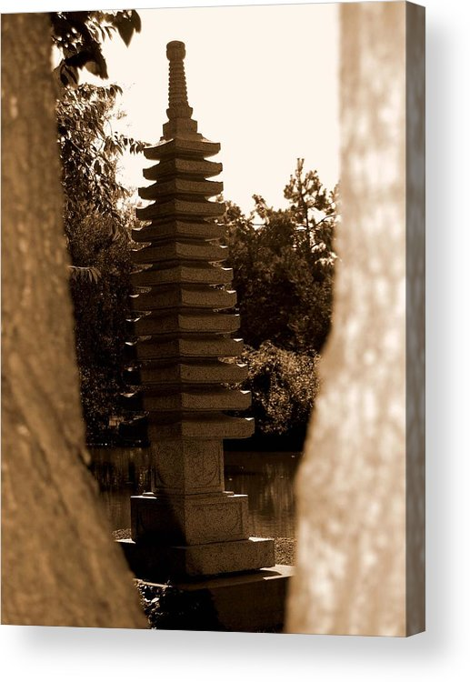 Sepia Acrylic Print featuring the photograph Stroll Garden 3 by Audrey Venute