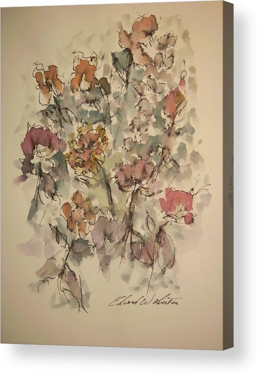 Floral Acrylic Print featuring the painting Study Of Flowers W by Edward Wolverton