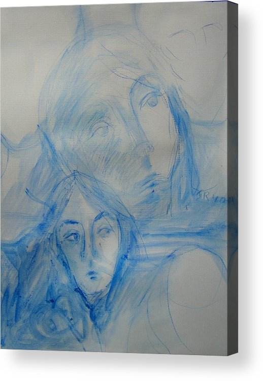 Abstract Acrylic Print featuring the painting Studying People by Judith Redman