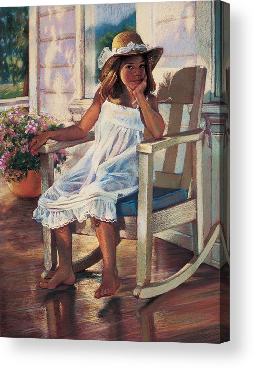 Girl Acrylic Print featuring the painting Summer Afternoon by Jean Hildebrant